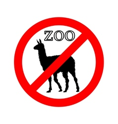 Lama in zoo prohibited vector image vector image