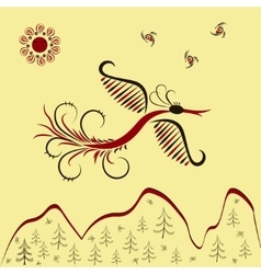 Sunbird flying over mountains vector image