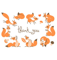 thank you card with cute squirrels vector image