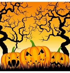 three pumpkins and trees vector image vector image