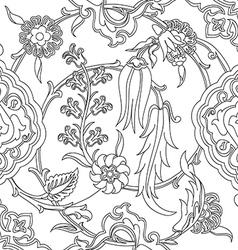 Tile oriental floral doodle ethnic pattern flower vector