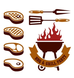 Barbecue party - steaks grill elements vector