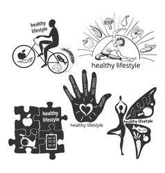 Set of icons healthy lifestyle vector image