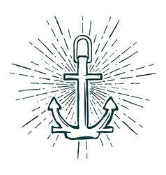 Vintage Marine Anchor isolated engrave vector image