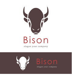 abstract silhouette of a head bison animals logo vector image