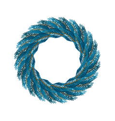 christmas wreath blue isolated fir branch circlet vector image vector image