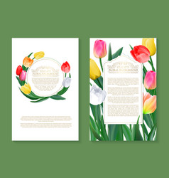 colorful tulips on two vertical blank banners set vector image