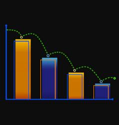 Decreasing bar graph with green arrow isometric vector