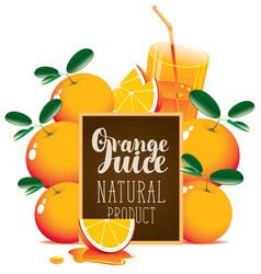 orange juice banner with oranges and blackboard vector image vector image
