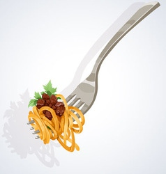 Pasta with tomato and meat on fork vector image