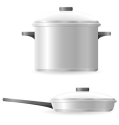 pots and pans tableware vector image