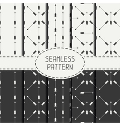 Set of geometric monochrome hipster line seamless vector image