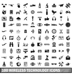 100 wireless technology icons set simple style vector image