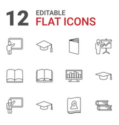 12 learning icons vector image