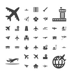 37 airplane icons vector