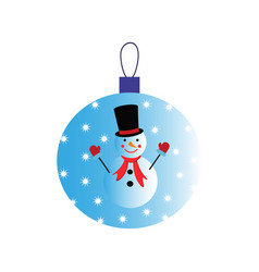 a christmas ball with snowman of icon vector image