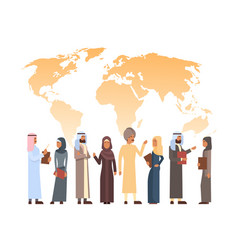 Arab man and woman group over world map islam vector