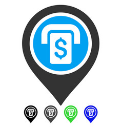Atm map marker flat icon vector