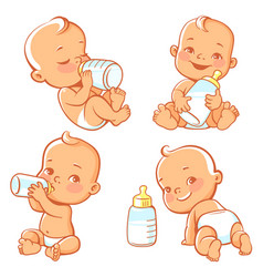 baby and milk vector image