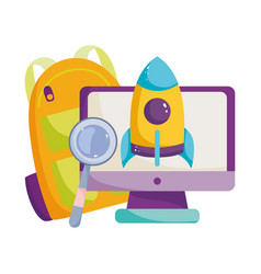back to school computer monitor rocket backpack vector image