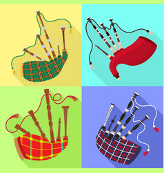 bagpipes icons set flat style vector image