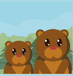 Bears family cute animals cartoons vector