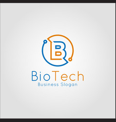 bio technology - letter b logo with stylish line vector image
