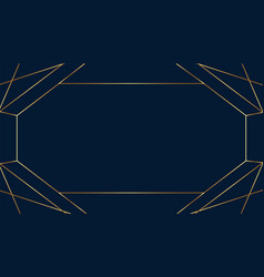 Blank art deco frame in golden lines style vector