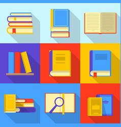 Bookshelf icons set flat style vector