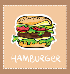 Cartoon hamburger in hand drawn style with text vector