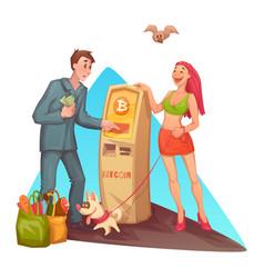 Cartoon man at bitcoin atm vector
