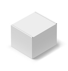 close up white carton box with shadow on white vector image