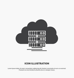 Cloud storage computing data flow icon glyph gray vector