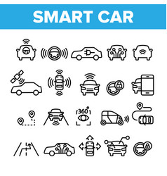 Collection smart car elements icons set vector