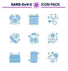 Coronavirus awareness icons 9 blue icon corona vector