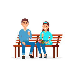 couple in love sitting on the park bench vector image