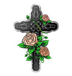 Cross with roses vector