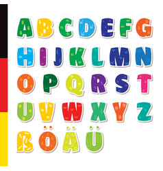Cute funny childish german alphabet fon vector