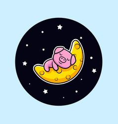 Cute pig sleeping on the moon mascot character vector