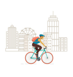 cyclist riding on modern city background vector image