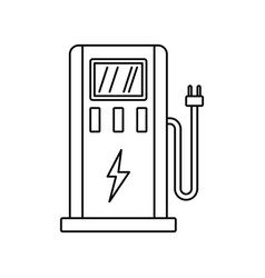 electric car station icon outline style vector image