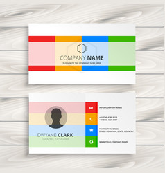 Elegant white business card with color shapes vector