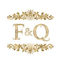 F and q vintage initials logo symbol vector