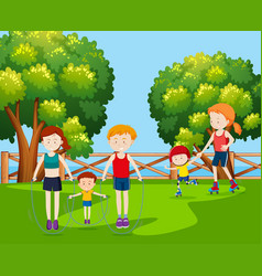 family holiday at the park vector image