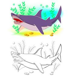 Fantasy cute shark colorful and black vector