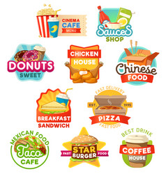 fast food sweets and drinks icons vector image