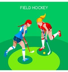 Field Hockey 2016 Summer Games 3D Isometric vector image