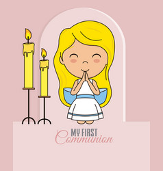 First communion card praying girl vector