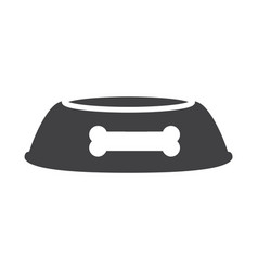 Flat black dog bowl icon vector