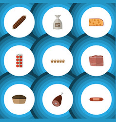 Flat icon food set of tomato meat kielbasa and vector